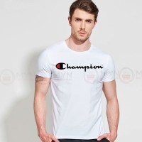 Champion Printed Round Neck T-Shirt in White