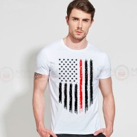 American Flag Printed Round Neck T-Shirt in White