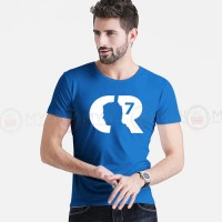 CR7 Printed Round Neck T-Shirt in Royal Blue