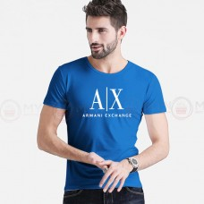 A X Printed Round Neck T-Shirt in Royal Blue