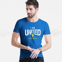 I Am United Printed Round Neck T-Shirt in Royal Blue