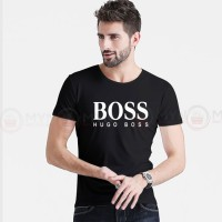 Boss Printed Round Neck T-Shirt in Black
