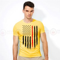 American Flag Printed Round Neck T-Shirt in Yellow