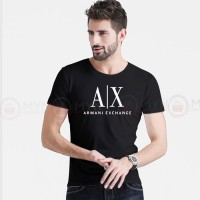 A X Printed Round Neck T-Shirt in Black