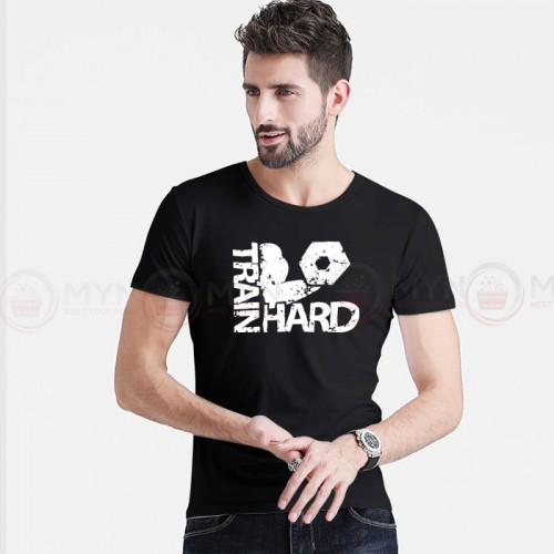 Train Hard Printed Round Neck T-Shirt in Black