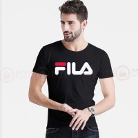 Fila Printed Round Neck T-Shirt in Black