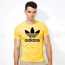 Adidas Round Neck T-Shirt in Yellow