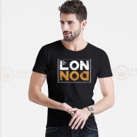 London Printed Round Neck T-Shirt in Black