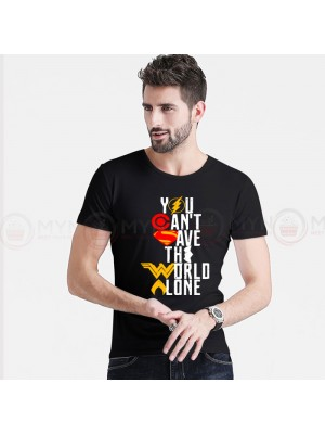 You Can't Save Printed Round Neck T-Shirt in Black