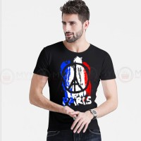 Paris Printed Round Neck T-Shirt in Black