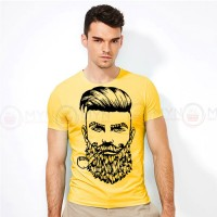 Beard Men Round Neck T-Shirt in Yellow
