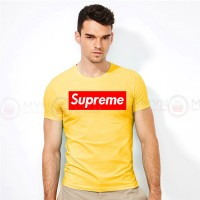 Supreme Round Neck T-Shirt in Yellow