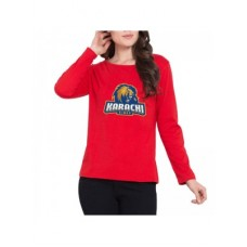 Karachi Kings Psl Women T-Shirt in Red