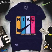 Nike Navy Blue Half Sleeves Printed T-Shirt For Men's