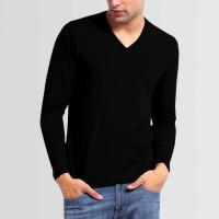 Plain V-Neck Full Sleeves T-Shirt in Black