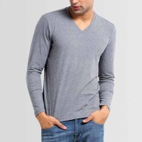 Plain V-Neck Full Sleeves T-Shirt in Grey