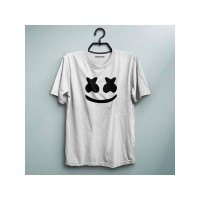 Marshmellow Half Sleeves Printed Round Neck T-Shirt For Women