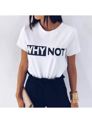 Why Not Half Sleeves Printed T-Shirt for Women