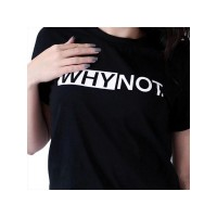 Why Not Black Half Sleeves Printed T-shirt
