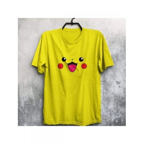 Pikachu Yellow Half Sleeves Round Neck T-Shirt