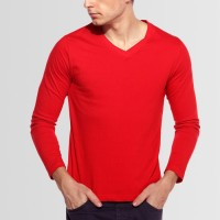 Plain V-Neck Full Sleeves T-Shirt in Red
