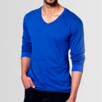 Plain V-Neck Full Sleeves T-Shirt in Royal Blue