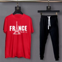 France Red Summer Tracksuit for Men