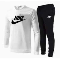 Nike White Full Sleeves T-Shirt & Trouser For Men's