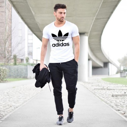 Adidas White T-Shirt & Black Trouser Summer Collection Tracksuit