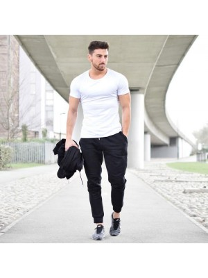 White T-Shirt & Black Trouser Summer Collection Tracksuit