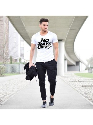 No Days Off White T-Shirt & Black Trouser Summer Collection Tracksuit