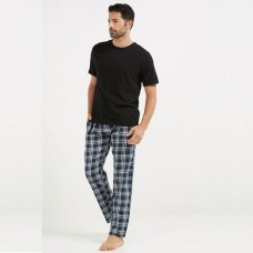 Bundle of check Pajama & Black Plain half Sleeves T-Shirt