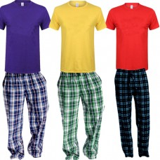 Bundle of 3 Check Pajama & Plain T-Shirts For Men