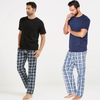 Bundle of 2 check Pajama & Plain T-Shirt