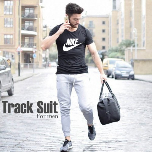 Nike Black T-Shirt & Grey Trouser Summer Collection Tracksuit