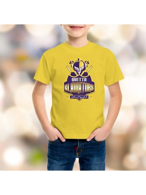 Quetta Gladiators Psl Kids T-Shirt in Yellow