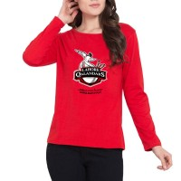 Lahore Qalandars Psl Women T-Shirt in Red