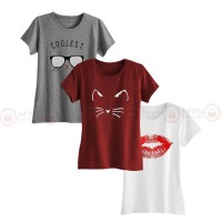 Bundle Of 3 Women's Printed T-Shirts D 1