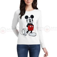 Micky Full Sleeves T-Shirt in White