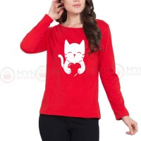 Cat Heart Full Sleeves T-Shirt in Red
