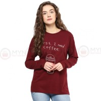 I Need Coffee Full Sleeves T-Shirt in Maroon