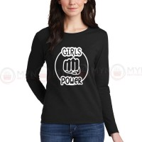 Girls Power Women Full Sleeves T-Shirt in Black