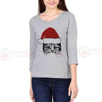 Christmas Cat Full Sleeves T-Shirt in Grey