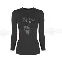 I Need Coffee Full Sleeves T-Shirt in Charcoal Grey