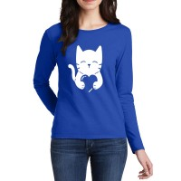 Cat Heart Full Sleeves T-Shirt in Royal Blue
