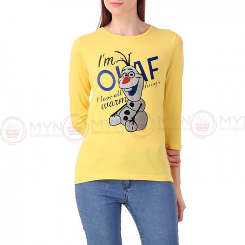 Olaf Full Sleeves T-Shirt in Yellow