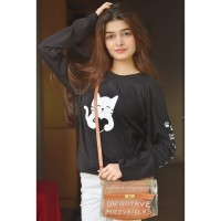 Cat Heart Women Full Sleeves T-Shirt in Black