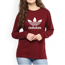 Adidas Full Sleeves T-Shirt in Maroon