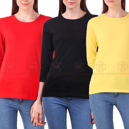 Bundle Of 3 Women's Plain T-Shirts D 16