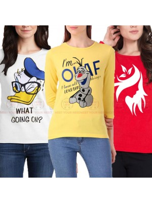 Bundle Of 3 Women's Printed T-Shirts D 13
